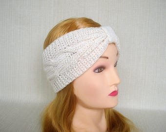 Cable knit headband Knit headband ear warmer Knit head wrap Womens turban headband Cashmere Winter headband Knit earwarmer Christmas gift