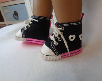 """Black Canvas Hi Top SNEAKERS SHOES for 18"""" Dolls Fits  American Girl Dolls"""