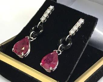Ruby,diamond ,and onyx drop push back earring