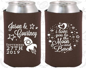 Brown Wedding, Brown Can Coolers, Brown Wedding Favors, Brown Wedding Gift, Brown Party Decorations (267)