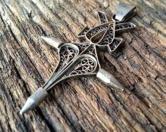 Art Nouveau Era Necklace Pendant - Vintage Filigree Silver Pendant