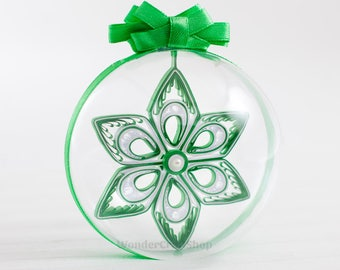 Christmas Budget Gift, Gift for all, Affordable Gifts, green christmas ornament, christmas tree decoration, clear ball, christmas ball