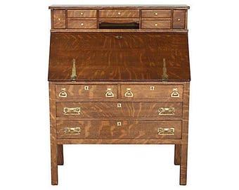 Craftsman Tiger Oak Secretary Desk - 1920-30s