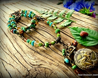Pocket Watch Necklace; Equestrian Necklace; Boho Necklace; Long Hippie Necklace; Horse Necklace; Southwestern Jewelry; Australian Seller