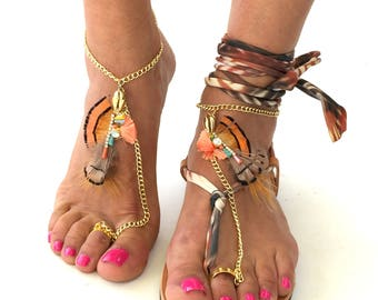 "Barefoot Sandals,""Peru"" Greek leather sandals, black Hippie Sandals, Foot Jewelry, Toe Thong, festival accessories for feet,"