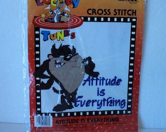 Looney Tunes Taz Attitude Is Everything by Leisure Arts Cross stitch kit #51003  Sealed 1997