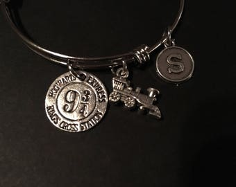 Harry Potter Inspired - Hogwarts Crossing Adjustable Bangle Bracelet Train (SMALL) and Initial Charm