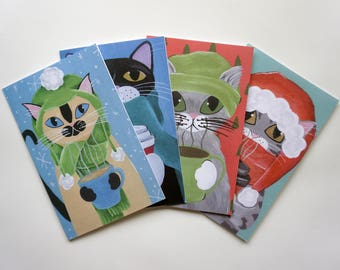Cats with Coffee Card Set, Cat Holiday Cards Set of 4, Cats with Coffee Cards by Amber Maki
