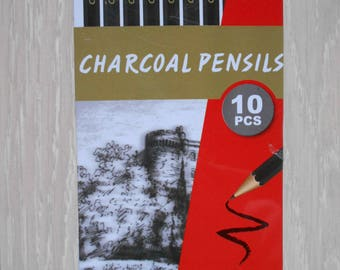 Box of 10 pencils new charcoal metal