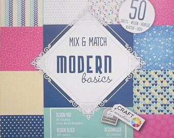 "Block 50 sheets 15 x 15 cm ""Modern basics"" scrapbooking"