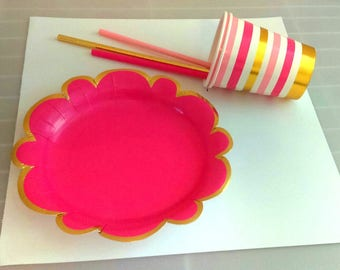 PINK OMBRE PARTY.  Pink and gold party supplies, decor.