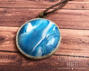 Faux Larimar Necklace - Blue Swirl Pendant - Blue Cabochon Pendant - Gift for Her