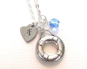 SALE Initial necklace - Personalised life ring necklace - Birthstone necklace - Charm necklace - Birthday gift - Custom necklace - UK seller