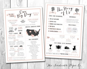 Infographic Wedding Program Cards • Our Big Day, Story of Us  • Customize it! Any Colors • Printable DIGITAL file: JPEG, PDF
