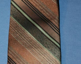 Vtg Wembley Neck Tie Diagonal Stripe Brown Green or Black Suit Polyester