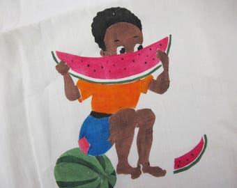 African American Dish Towel Negro American Boy with Watermelon