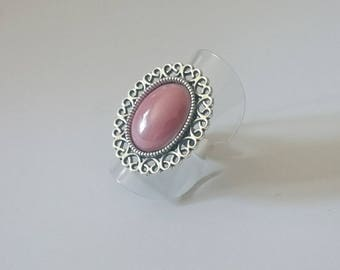 Ring adjustable silver metal and glass cabochon