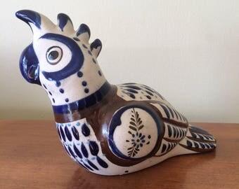 Vintage Mexican Art Pottery Parrot