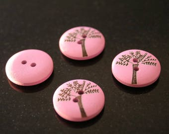 """10 """"tree"""" wooden buttons. (ref:2835)."""