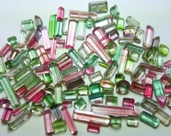 166 Carats Good Quality Beautiful Mix Colors Tourmaline Cut Stones Excellent Luster Fantastic Faceted from Afghanistan