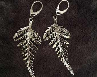 Tibetan silver fern earrings on sterling silver hooks