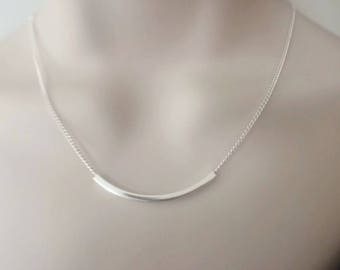 Sterling Silver Bar Necklace, Modern Silver Bar Necklace, Sliding Bar Curb Chain Necklace, Jewellery Gift for Her, Everyday Necklace