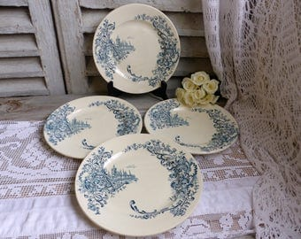 Set of 4 Antique french teal transferware dinner plates. Teal transferware. French chateau. Castle Louis XV style. French country