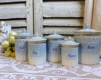 Set of 5 Vintage french porcelain kitchen canister set. Baby blue. Powder blue. Pastel blue. French kitchen decor. Jeanne d'Arc living
