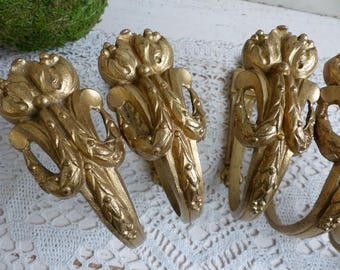 Set of 6 antique french medium gilded bronze curtain tie backs. Louis XVI style French chateau French curtain hardware. French curtain holds