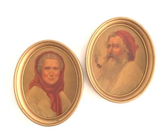 Vintage Scottish Prints His Hers 18th Century Portraits Oval Gold Frame Pipe Smoking Gentleman Red Hats Scarves