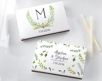 Set of 50 Personalized Weding Matches Botanical Garden Design - Wedding Matchboxes - Garden Wedding - Matchbox Wedding Favors (28257-BT)