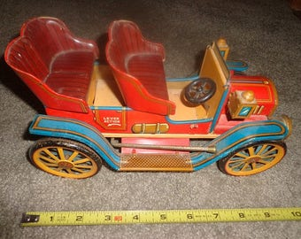 SALE now Large size antique metal old time car,jalopy from the 1950s,great decorater piece