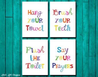Bathroom Signs Brush Your Teeth hang your towel | etsy