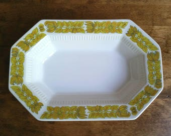 Vintage Independence Ironstone Yellow Bouquet Octagonal Serving Bowl