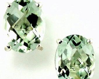 On Sale, 20% Off, Green Amethyst, 925 Sterling Silver Post Earrings, SE002