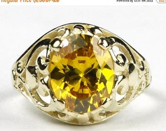 On Sale, 30% Off, Golden Yellow CZ, 10KY Gold Ring, R004