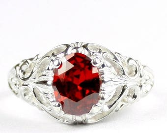 On Sale, 30% Off, Garnet CZ, 925 Sterling Silver Ring, SR113