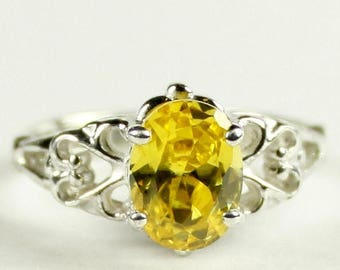 On Sale, 30% Off, Golden Yellow CZ , 925 Sterling Silver Ring, SR302