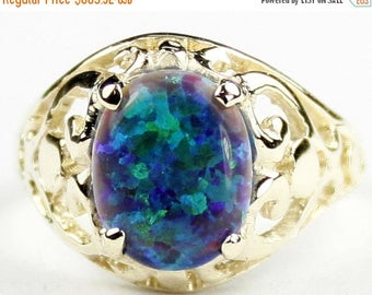 On Sale, 30% Off, Created Green on Blue Opal, 18KY Gold Ring, R004