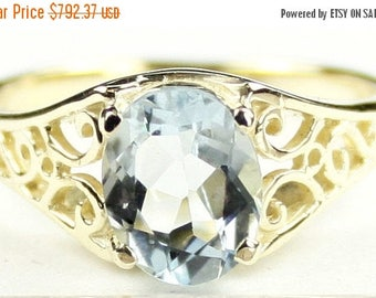On Sale, 30% Off, Aquamarine, 18KY Gold Ring, R005