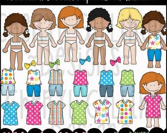 DIGITAL SCRAPBOOKING CLIPART - Hannah & Friends Paper Dolls Summer