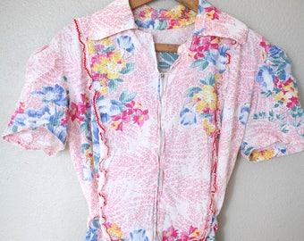 vintage 1960s pink floral house dress