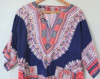 vintage  dashiki navy blue  batik  tunic top with pockets *
