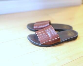 vintage woven brown leather slip on slides sandals womens 5 1/2