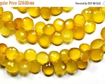 40%DIS 8 Inch 11-12mm-Yellow Chalcedony Faceted Heart Shape Briolette Beads-40-42 Beads(5726-28)