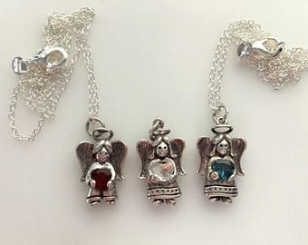 Vintage Sterling Silver Guardian Angel Pendants Holding Various Color Gemstones Red, Aqua, and Clear Crystal Heart