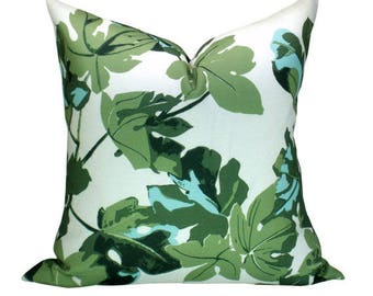 OUTDOOR Fig Leaf pillow cover in Original on White