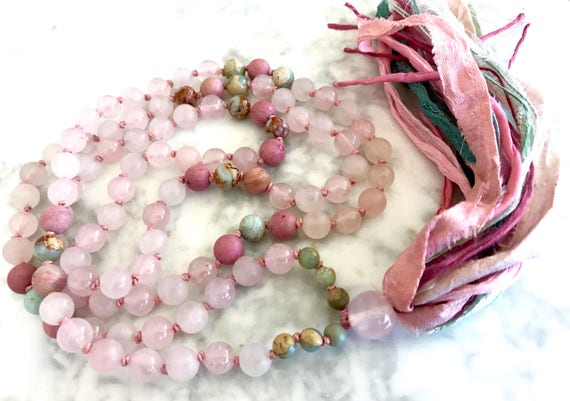 Heart Chakra Mala Beads - 108 Tassel Necklace - Rose Quartz Mala Necklace - Silk Sari Tassel Necklace - Chakra Balance -  Healing Jewelry