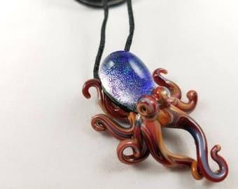 Octopus - Glass Pendant Necklace lampwork
