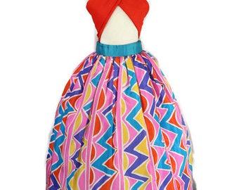 Vintage Oscar De La Renta Multi Color Taffeta Maxi Skirt - Size 8